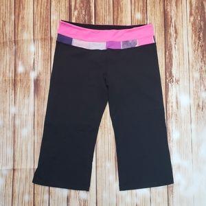 Lululemon Groove Crops Wide Leg Yoga Pink Black